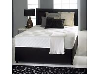 LEATHER DIVAN BED BASE SET + FREE HEADBOARD SIZE 3FT 4FT6 Double 5FT King