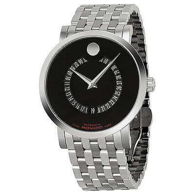Movado Red Label Automatic Black Dial Animated Date Stainless Steel Mens Watch