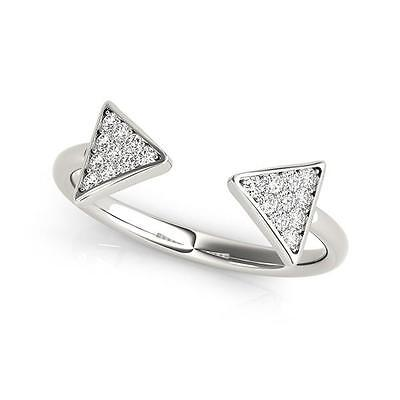 NEW LADIES 14k WHITE GOLD DIAMOND OPEN ARROW FASHION ADJUSTABLE RING
