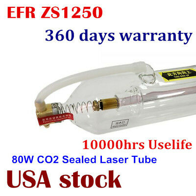Us Stock Efr Zs1250 Co2 Laser Glass Tube 80w For Laser Cutting Engraving Machine