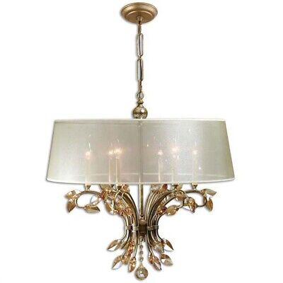 Hollywood Regency Gold Metal & Crystal Leaves 6 Light Chandelier 6 Light Gold Leaf