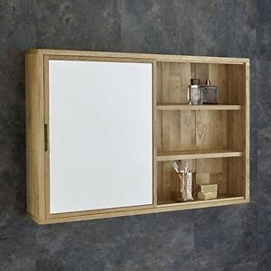 Solid oak wall mounted sliding mirror door bathroom for Mirror 60cm x 80cm