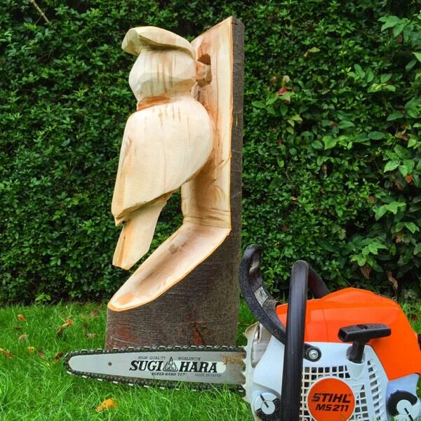 Chainsaw carving woodpecker garden feature in crowle