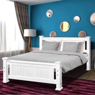 Brand new pine wooden modern design queen size bed BRAND ne w mat