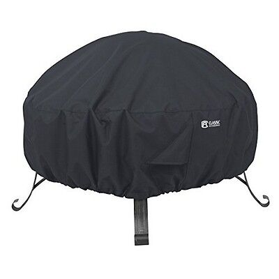 Classic Accessories Full Coverage Fire Pit Cover- Round- Black- 36in Dia NEW