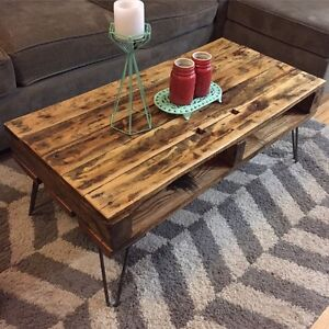 Reclaimed & Recycled Wood Coffee Table on Hairpin Legs