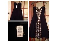 Black and gold chiffon dress brand new with tag size 8