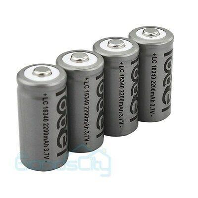 4 x 2200mAh 3.7V 16340 Li-ion GTL Rechargeable Battery Cell Flashlight Camera