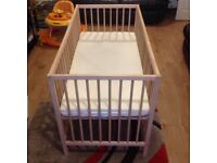 Spacesaver children's baby Cot with Mattress cheap to clear