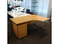 Radial Corner Office Desk With 3 Drawer Pedestal, Oak