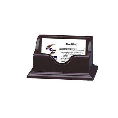 Red Sandal Wood Desktop Business Card Holder Case Organizer Display Stand Office