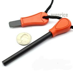 Survival-Orange-handle-Ferrocerium-Flint-Fire-Starter-Magnesium-w-Steel-Striker
