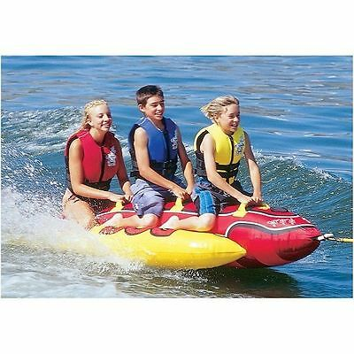 3 Person Hot Dog Tow Tubes Inflatable Towables Boating Water Ski Tubing Sports