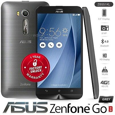 "New Unlocked ASUS Zenfone Go ZB551KL Grey 5.5"" 8MP Android 4G LTE Cell Phone"