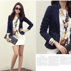 Women OL Lapel One Button Long Sleeve Short Suit Blazer Outerwear Jackets Coat