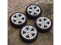 "Genuine 18"" BMW 386m alloy wheels with 5/6mm tread Pirelli P Zero run flat tyres"