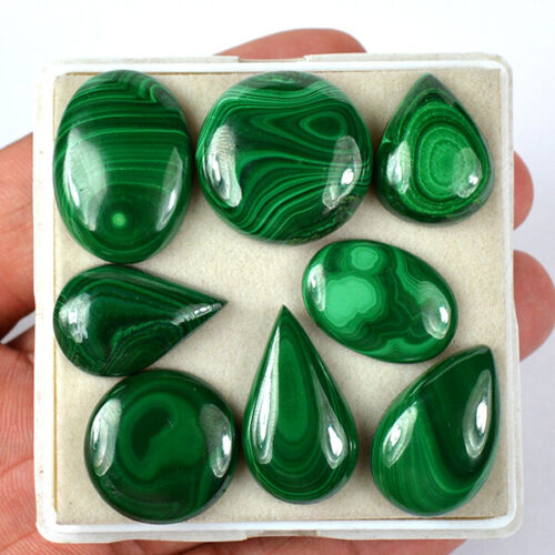 180 Ct/8Pcs Natural Green Malachite Mix Cabochon Gemstone Wholesale lot 20-26 Mm