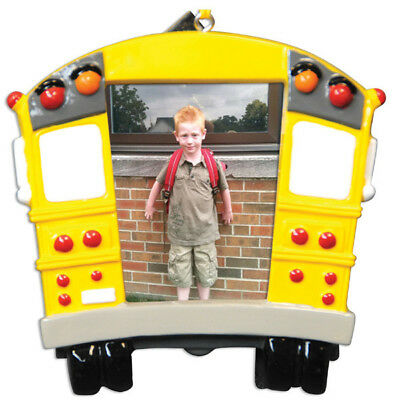 School Bus Frame Personalized Christmas Tree Ornament - School Bus Ornaments
