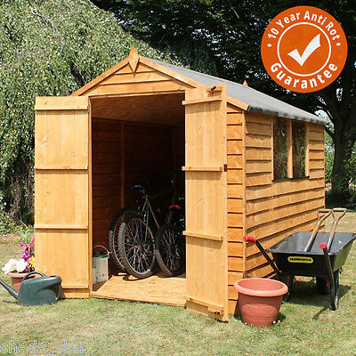 8x6 Overlap Wooden Shed Window Double Door Apex Roof & Felt Garden Sheds 8FT 6FT