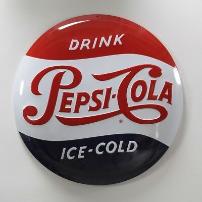 Pepsi-Cola Ice Cold Button Metal Sign Vintage Diner Style Decor 14 in.