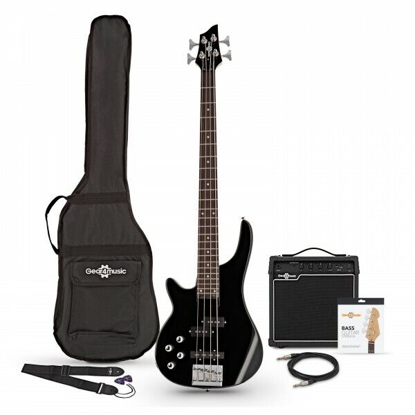 Chicago Left Handed Bass Guitar + 15W Amp Pack Black