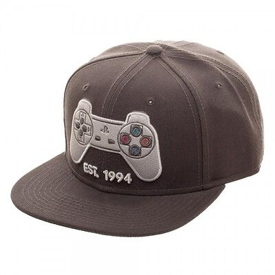 Grey Playstation EST 1994 Logo Snapback Hat Cap Sony Official PS1 Controller PS on Lookza