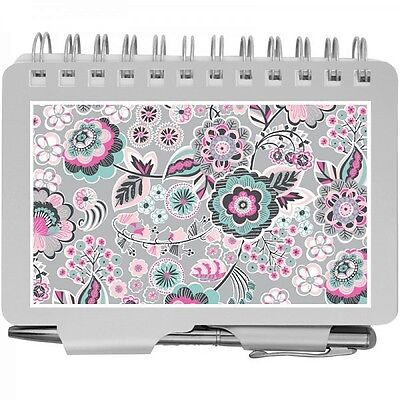 8538- Wellspring Silver Pink Mint Floral Password Organizer Book With Pen -wow
