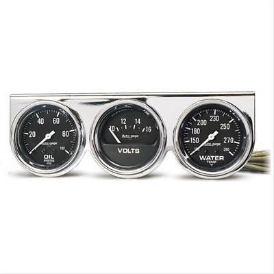 Autometer 2399 Autogage Black Oil/Water/Volt Gauge with Chrome Console