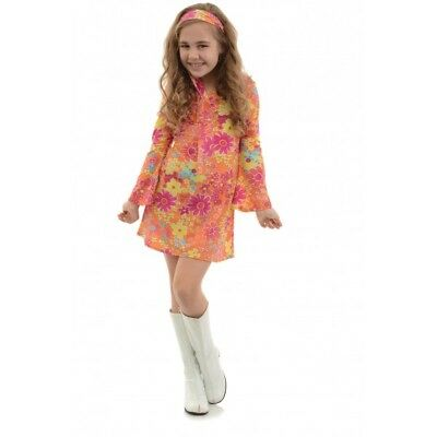 1960S 70S GO GO RETRO HIPPIE DISCO FEVER DIVA FLOWER GIRL CHILD KIDS COSTUME  - Girl Disco Costume