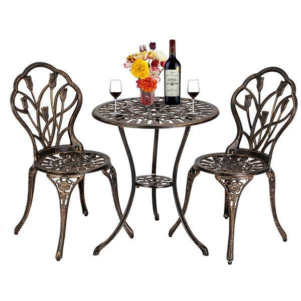 Garden Furniture - 3Pcs Patio Table Chairs Furniture Bistro Set Cast Aluminum Outdoor Garden Bronze