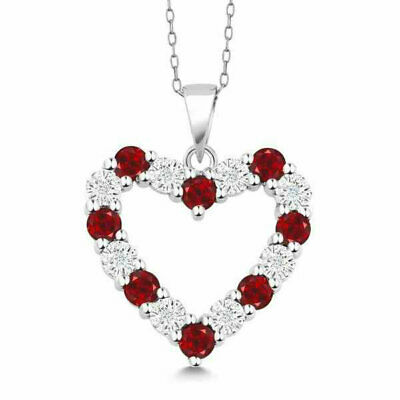 Created Sapphire Heart Pendant - 1/2 ct Natural Red Ruby, Created White Sapphire Heart Pendant in Sterling Silver