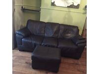Pair of Large Brown Leather Sofas with Matching Footstools