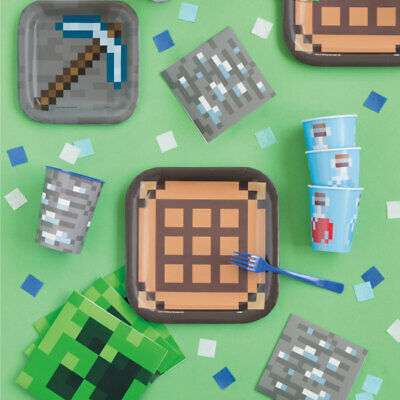 Minecraft Party Pack 116 PIECE SET plates,napkins,cups,banner & MORE!! (Minecraft Party Plates)
