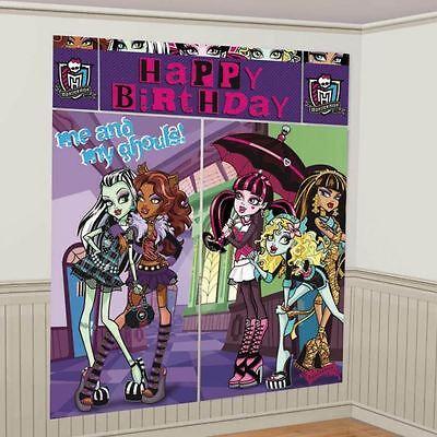 Monster High Geburtstag Szene Einstellung Banner Wand Party Dekoration Set ()