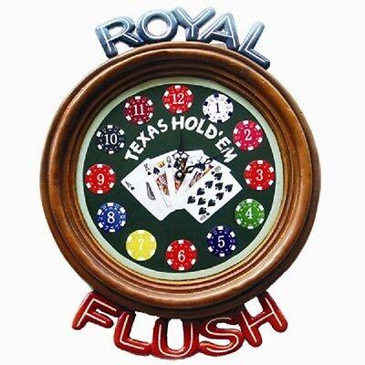 Ram R172 Wooden Royal Flush Pub Clock 3D Art with FREE shipping