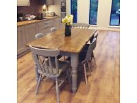 Farmhouse table and 6 chairs - NEW