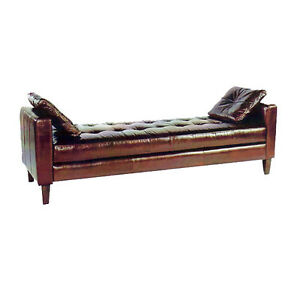 Vintage brown leather long tufted bench chaise ebay for Leather daybed bench
