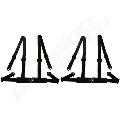 PAIR OF BLACK 4 POINT RACING SEAT BELT HARNESSES FOR CAR/OFF ROAD/4x4 HARNESS