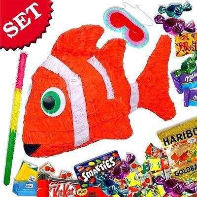 Clownfisch Pinata für Kindergeburtstag im Set mit Süßigkeiten, Deko Mottoparty