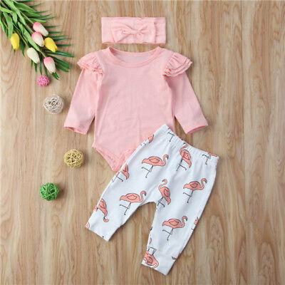 942d2f13d92bf Newborn Baby Girl Clothes Romper T-shirt Top+Pants Leggings Flamingo  Outfits Set