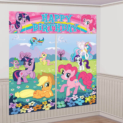 My Little Pony WALL POSTER Decoration Kit Scene Setter Birthday Party Supplies~