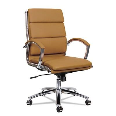 Lot Of 8 Camel Leather Conference Room Table Chairs With Padded Arms