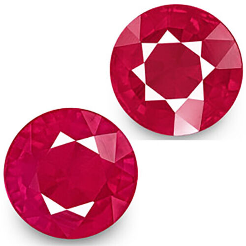 4.66cts Certified Natural Pinkish Ruby 8mm Round Pair Heat only Loose Gemstone