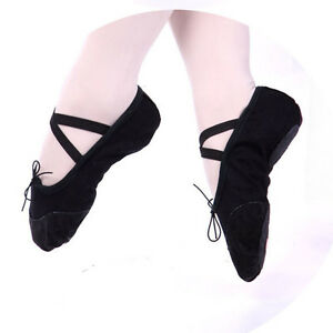 LADY GIRL'S ADULT KID CANVAS BALLET DANCE SHOES SLIPPERS RED BLACK PINK Sz 25-42