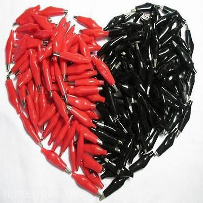 2x Set Black Red Insulation Boot Metal Alligator Clips Electric Test 3.5cm Lead