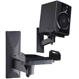 2 x Speaker Wall Mount Bracket Tilt Side Clamping Large Bookshelf Surround Sound