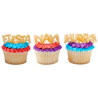New Gold Fiesta Cupcake Picks One Dozen Balloon Inspired