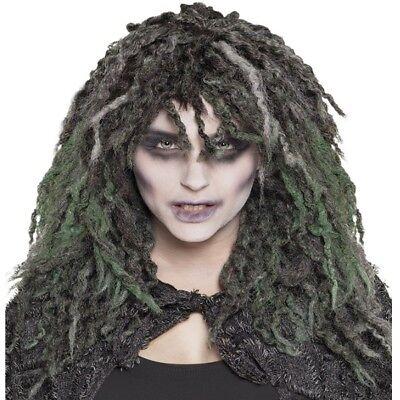 Halloween Perücke Swamp Zombie Witch Hexe grau/grün lang Locken Karneval #991 ()