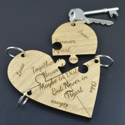 Personalised Best Friend Jigsaw Piece Keyring Heart Set Unique Gift Friends