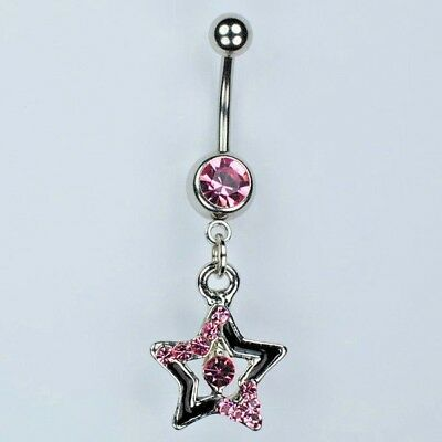 Star Dangle Belly Button Ring Bar Black with PINK Navel Piercing Jewelry (B2) ()